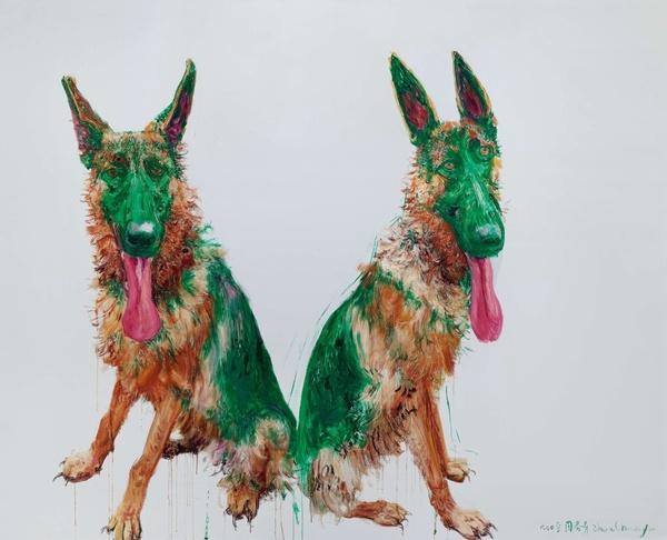 周春芽 《绿狗》 200×250cm 布面油画 2008  以632.5万元成交于2015上海明轩春拍,系艺术家2015年个人最高单价