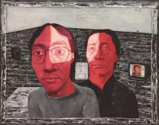 张晓刚 《血缘:母与子1号》 115×146cm 布面油画 1993  2017香港蘇富比春拍中在250万-350万港元的估价上流拍