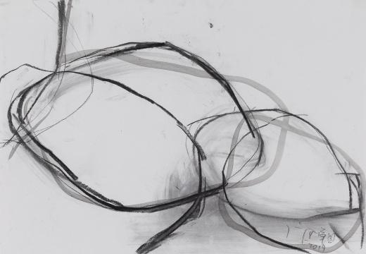《线 雕塑草图》27x39cm 纸本综合材料 2017