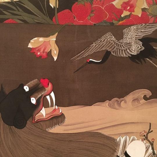 《鸟·袅》 58×389cm 绢本水墨、金箔 2017 (局部)