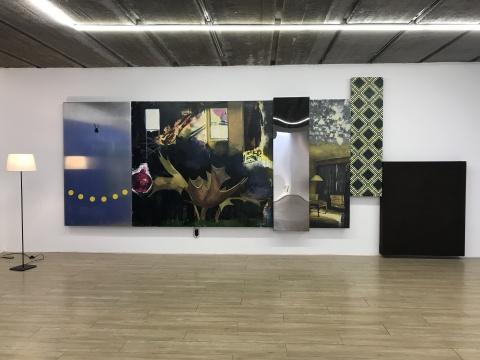 李天琦《摇摆结构》180×560cm布面油画,金属板材,亚克力,现成品,电机装置 2017