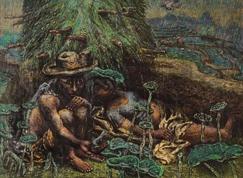 罗中立《躲雨的农民》95×130cm 布面油彩 1995年