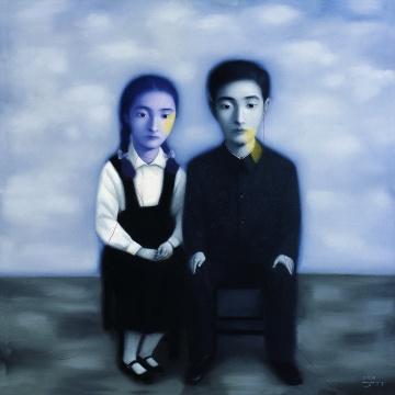 张晓刚《血缘大家庭系列》150x150cm布面油彩 1998年