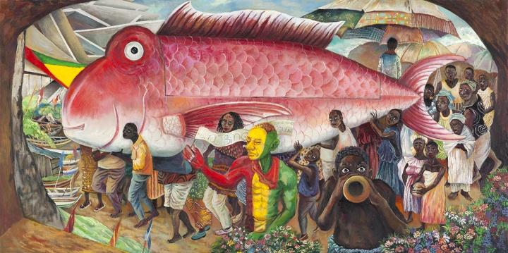 阿散蒂的红色大鱼 2016 布面油画 80×160cm