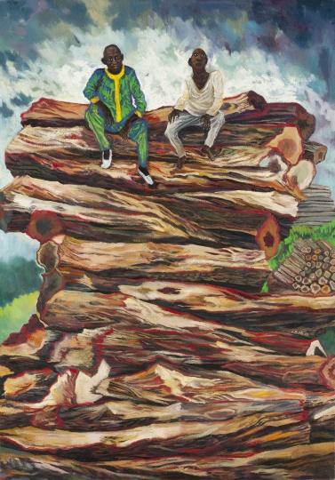 伐木者 2016 布面油画 140×100cm  刘冰的朋友圈中,她的一位尼日利亚朋友在卖木材。中国是尼日利亚最大的木材出口国,但这些木材均是生长了百年的老树。交易只是一瞬间,但资源却是不可再生的