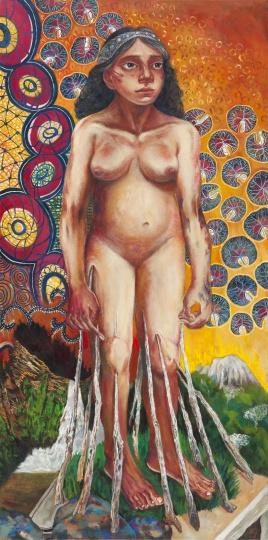 站着的女巨人 2016 布面油画 160×80cm