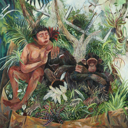 灵长类动物 2017 布面油画 150×150cm