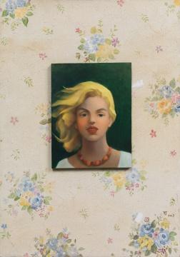 陈可 《梦露与花墙纸》 油画颜料,丙烯颜料,木板,帆布 100×70 cm 2017