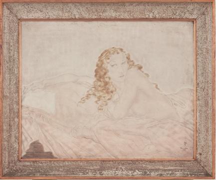 藤田嗣治《斜倚祼女》65.5×80.7cm 布面油画 1931  估价:300万 - 500万港元