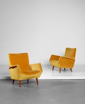 吉奥·蓬蒂《一对扶手椅 型号803》 80×73.5×79cm胡桃木,布料1954  估价:8万-12万港元