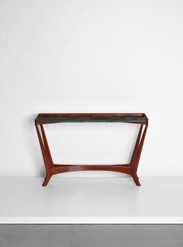 奥斯瓦尔多·博萨尼《为第9届米兰三年展而设计之独特蜗形腿台桌》89.5×140.5×34.5cm 胡桃木,胡桃木纹板,大理石1951  估价:5万-7万港元