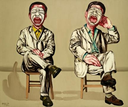 曾梵志《面具系列第十六号》 150×180cm 布面油画 1994  估价:RMB:12,000,000-18,000,000