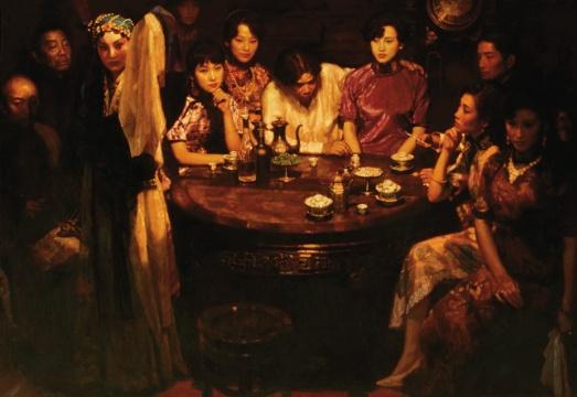 陈逸飞 《玉堂春暖》 169.5×243.5cm 布面油画   估价:RMB:25,000,000-35,000,000
