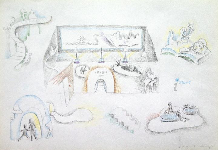2014年iSTART主题展,李杰绘制的展厅设计手稿之一