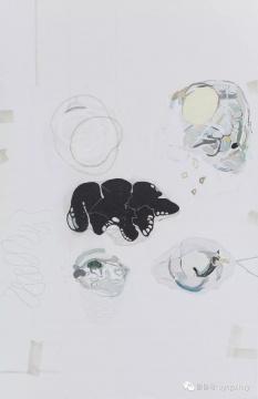 《黑色面糊团》 135x88cm 布面丙烯 2016