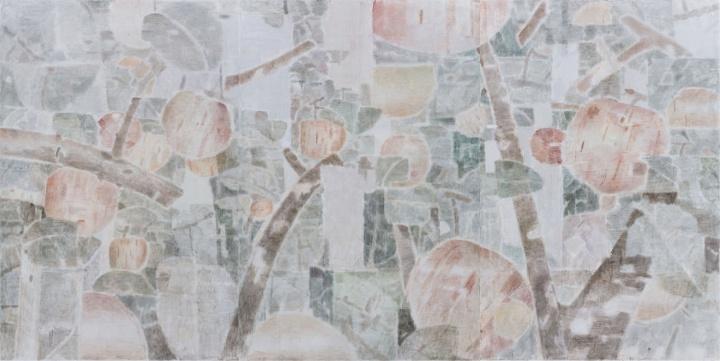 《苹果园》 300×600cm布面坦培拉2017