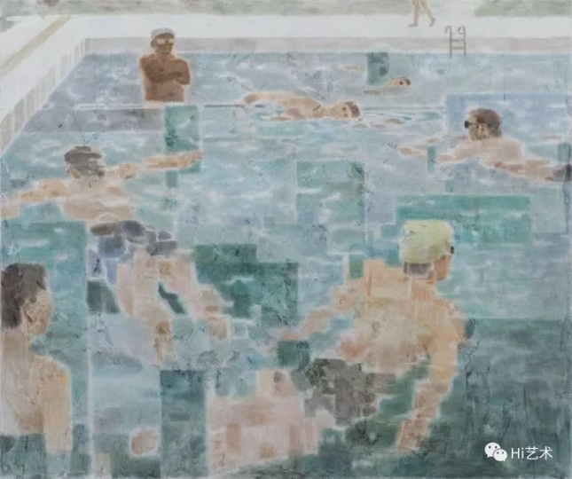 《游泳》 210×250cm 布面坦培拉2017