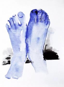 《蓝色的脚》 38×53cm 纸本水彩 2015