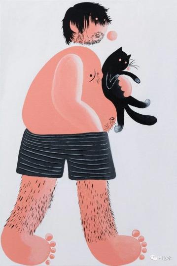《抱猫的我》 60×40cm 布面丙烯 2017