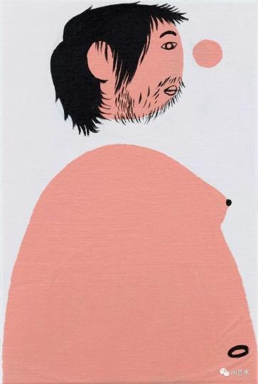 《半裸的我之一》 29.5×20cm 布面丙烯 2017