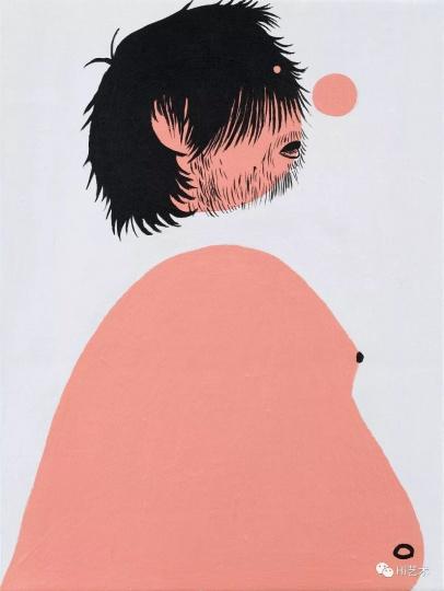 《半裸的我之二》 40×30cm 布面丙烯 2017