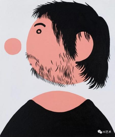 《穿黑T恤的我之二》 60×50cm 布面丙烯 2017