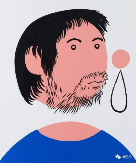 《穿蓝T恤的我之二》 60×50cm 布面丙烯 2017