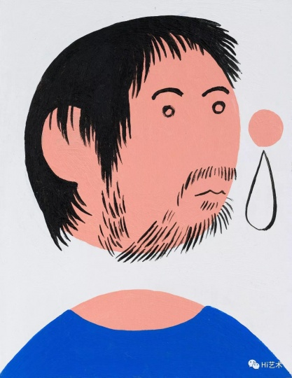 《穿蓝T恤的我之一》 19.5×15cm 纸上丙烯 2017