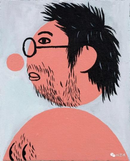 《戴眼镜的我之一》 25×20cm 布面丙烯 2017