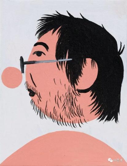 《戴眼镜的我之二》 17×13cm 纸上丙烯 2017