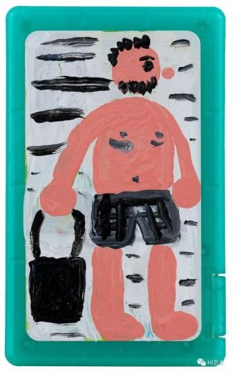 《水边提包的我》 8×5cm 薄荷糖盒上的丙烯 2017