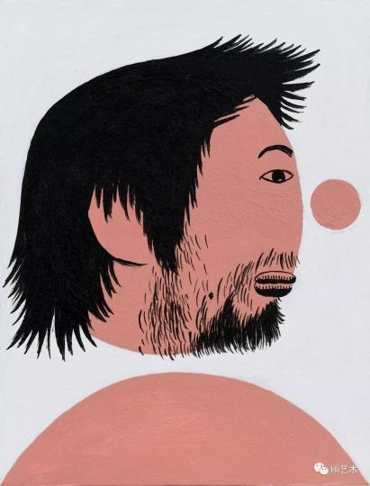 《头发蓬起的我》 19.5×15cm 纸上丙烯 2017