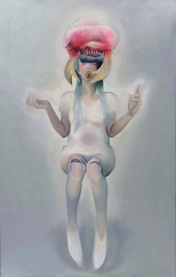 《地藏六使者-大力使者》 220cmx140cm 布面油画,水晶树脂 2015