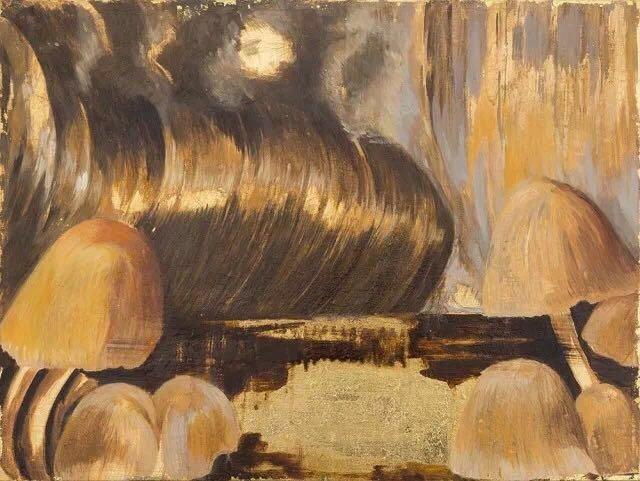 《蘑菇》 45×60cm 木板油画,金箔 2017