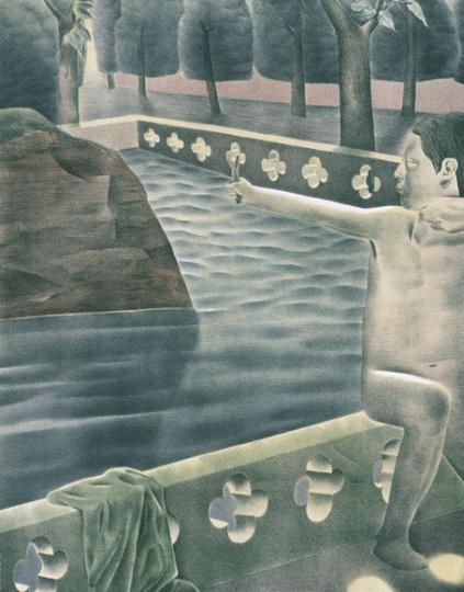 韦嘉《鸟语》65cmx51cm 石版画 2001