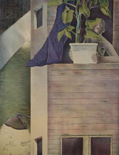 韦嘉《深呼吸》68cmx52cm 石版 2002