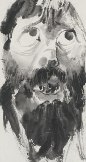 李津《不安》180x98cm纸本水墨2015
