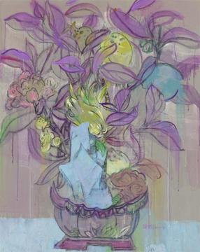 王海燕 《福寿双全之一》 100×80cm 布面油画 2012