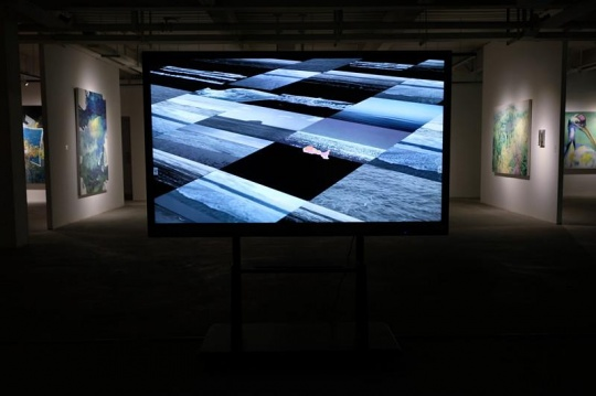 展览现场展出的刘豪格作品《鱼缸》  艺术家刘豪格创作的《鱼缸》曾获得中国独立影像节前卫精神奖,洛杉矶华语电影节最佳实验和动画短片评委会奖。艺术家用生活常见物像和意识图形变化,表现人与物束缚,群体无意识化,人如鱼缸中鱼被束缚在空间中,和人对鱼缸中多维度空间时间理解。如同时间和空间,每个人都要从开始到结束如莫比乌斯环一样循环回来。画面超现实主义感和意像表现上使用到多媒材表达,用手绘2D动画语言、电脑后期技术、拼贴图像综合技术运用,是对动画作为艺术媒介独立思考与运用。