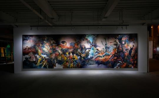 展览现场展出的孟涛作品《禽兽人间》