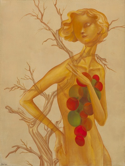 《Vanity系列-金黄的花园》 80×60cm 布面丙烯 2017