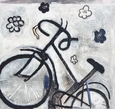 《自行车》 布面丙烯 114×114cm 1998年
