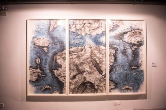 邱志杰 《想象地理学》 纸上铜版画 2015