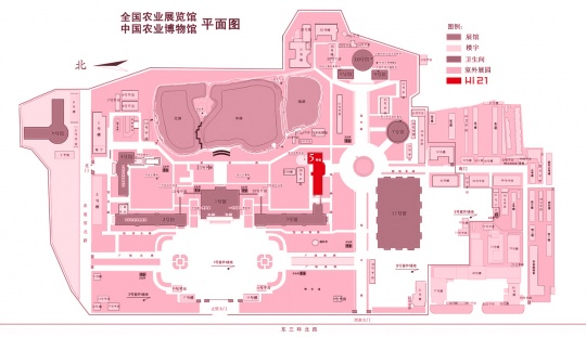 农业展览馆平面图,其中红色部分为五号馆,与设计北京的3号馆相连,毗邻