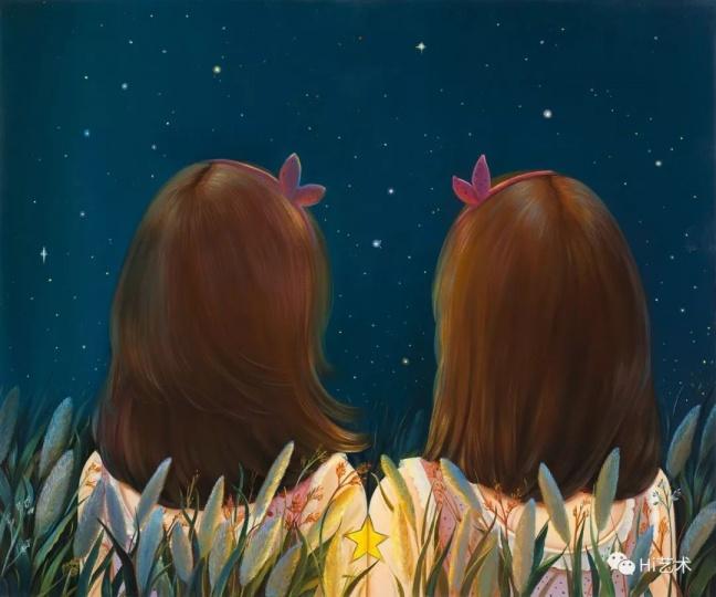 """《繁星》50×60cm布面油画2016  """"每个人心中都有另外一个自己。"""""""