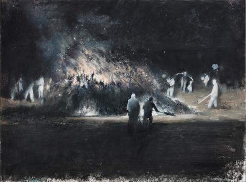 刘海辰《碎木·杂草和村庄上燃烧的火(手稿1)》32x41cm纸本油画棒 2014