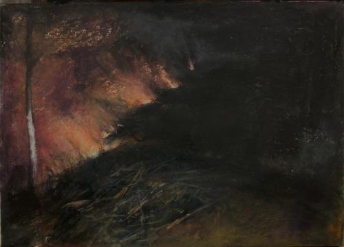 刘海辰《燃烧的意志(手稿4)》32x41cm纸本油画棒 2014