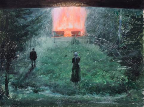 刘海辰《方形火焰》36x48cm纸本油画棒2018