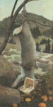 《倪瓒的兔子》45×90cm 布面丙烯 2016