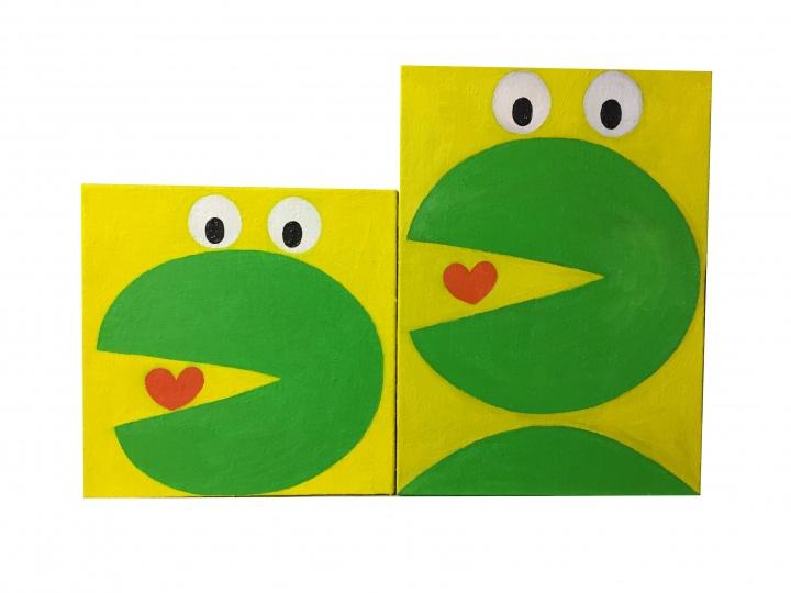 封面图片来自艺术家烟囱刚刚面世的新作,大小两只青蛙很符合亲子的感觉有木有? 《青蛙之一》(25cmx25cm)《青蛙之二》(35cmx25cm) 布面油画 2018(星空间提供)